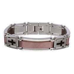 Two-tone Stainless Steel 8.5-inch Cross Bracelet (15 mm)