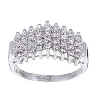 Roberto Martinez Sterling Silver Cubic Zirconia Pyramid Ring
