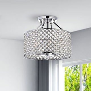 Thumbnail 1, Chrome/ Crystal 4-light Round Ceiling Chandelier.