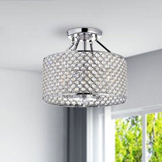 Round Chandelier Light: Chrome/ Crystal 4-light Round Ceiling Chandelier - Free Shipping Today -  Overstock.com - 12645622,Lighting