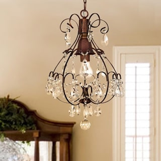 Laurel Creek Harper Brushed Oak 1-light Teardrop Crystal Chandelier