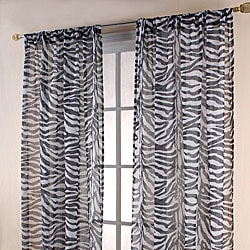 Zebra Print Black/ White Sheer 84-inch Curtain Panels