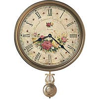 Howard Miller Savannah Botanical VII Rustic, Floral, Farmhouse, Old World Style Distressed, Round Wall Clock with Pendulum - N/A