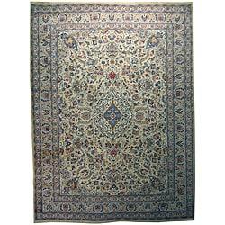 Handmade Kashan Ivory Wool Rug (Iran) - 10' x 13'5
