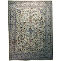 Persian Kashan Hand-knotted Ivory Wool Rug (10' x 13'5)