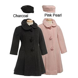 Rothschild Girl's Wool Blend Coat and Hat Set