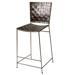 Set of 2 Woven Leather Antique Brown Counter Stools India
