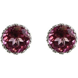 Gioelli Sterling Silver Pink Topaz 6 mm Round Stud Earrings