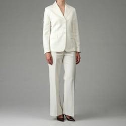 John Meyer Women's Ivory Linen Blend Pant Suit - Free Shipping On ...