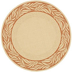 Safavieh Tranquil Poolside Natural/ Terracotta Indoor/ Outdoor Rug (6'7 Round)
