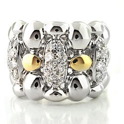 Michael Valitutti Palladium/ Silver/ 14k Gold Clear Cubic Zirconia Ring