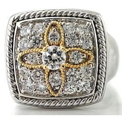 Michael Valitutti Palladium/ Silver/ 14k Gold Cubic Zirconia Flower Ring