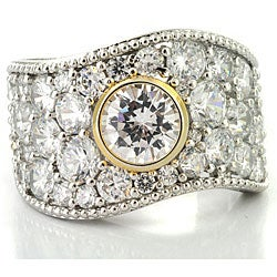 Michael Valitutti Palladium/ Silver/ 14k Gold Cubic Zirconia Ring