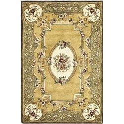 Safavieh Handmade Classic Light Gold/ Green Wool Rug (3' x 5')