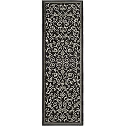 Safavieh Indoor/ Outdoor Resorts Black/ Sand Runner (2'4 x 6'7)