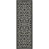 Safavieh Resorts Scrollwork Black/ Sand Indoor/ Outdoor Runner (2'4 x 6'7)