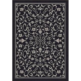 Safavieh Resorts Scrollwork Black/ Sand Indoor/ Outdoor Rug (2'7 x 5')