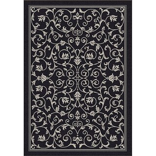 Safavieh Resorts Scrollwork Black/ Sand Indoor/ Outdoor Rug (2'7 x 5')