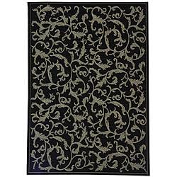 Safavieh Indoor/ Outdoor Mayaguana Black/ Sand Rug (4' x 5'7)