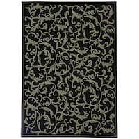 Safavieh Mayaguana Black/ Sand Indoor/ Outdoor Rug - 4' x 5'7