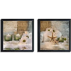 Patricia Pinto 'Relaxation I and II' Framed Canvas 2-piece Art Set