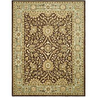 "Safavieh Handmade Kerman Chocolate/ Gold Wool Rug - 9'6"" x 13'6"""