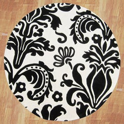 Alliyah Handmade Black New Zealand Blend Wool Rug(6' Round)