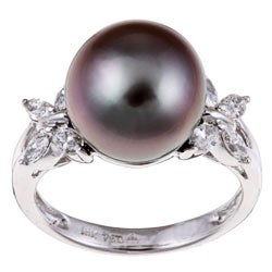 Kabella 18k Gold Pearl and 1/2ct TDW Diamond Ring (I-J, I1) (12 mm)