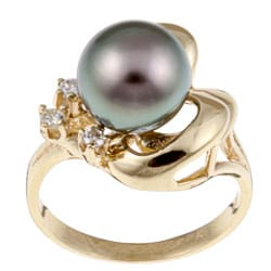 Kabella 14k Gold Tahitian South Sea Pearl and 1/10ct TDW Diamond Ring