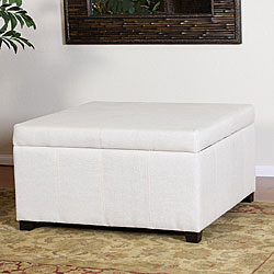 Forrester White Linen Square Storage OttomanFree Shipping Today
