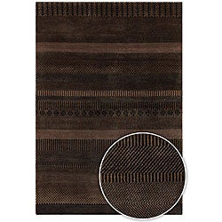Artist's Loom Hand-knotted Contemporary Stripes Wool Rug (2'x3')