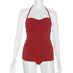 b170df38dd8 Shop Jantzen Women's 'Vamp' Bandeau Vintage Red Swimsuit - Free ...