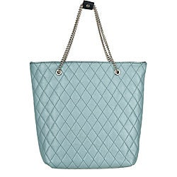 Made in Italy Quilted Leather Small Blue Tote