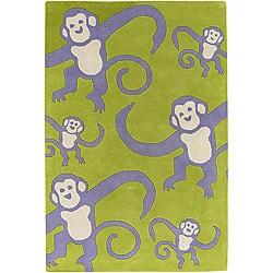 Artist's Loom Hand-tufted Kids Animal Print Wool Rug (3'6x5'6)