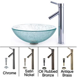 Kraus Broken Glass Sink and Sheven Bathroom Faucet