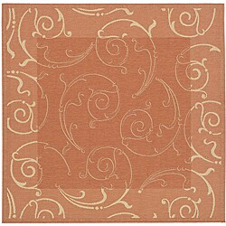 Safavieh Oasis Scrollwork Terracotta/ Natural Indoor/ Outdoor Rug (7'10 Square)