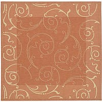 "Safavieh Oasis Scrollwork Terracotta/ Natural Indoor/ Outdoor Rug - 7'10"" x 7'10"" square"