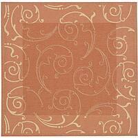 Safavieh Oasis Scrollwork Terracotta/ Natural Indoor/ Outdoor Rug (7'10 Square) - 7'10 Square
