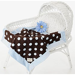 Shop Baby Blue And Brown Polka Dot Luxury Baby Blanket