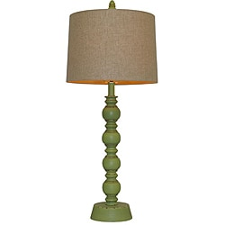 Luisito Green Wood Table Lamp - Thumbnail 0
