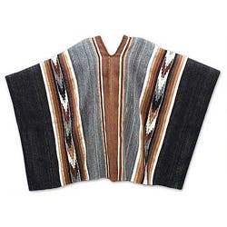 Handmade Road To Huancayo Traditional Cape Men's Women's White Black Brown Gray Artisan Genuine 100% Alpaca Wool Poncho (Peru)
