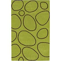 Alliyah Handmade Green New Zealand Blend Wool Rug(8' x 10') - Thumbnail 0