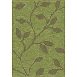 Thumbnail 1, Velvet Green Leaves Rug (7'10 x 10'10).