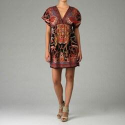 Thumbnail 1, Angie Women's V-neck Dolman Sleeve Printed Dress.