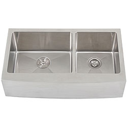 Ticor 36-inch16-gauge Stainless Steel Curved Front Double Bowl Undermount Apron Kitchen Sink