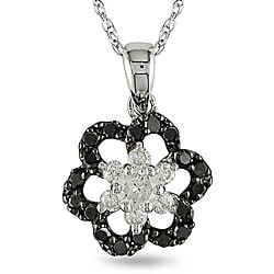 Miadora 10k White Gold 2/5ct TDW Black and White Diamond Necklace (H-I, I2-I3)