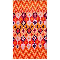 Tracy Reese Diamond Woodblock Apricot Oversized Beach Towel - Thumbnail 0