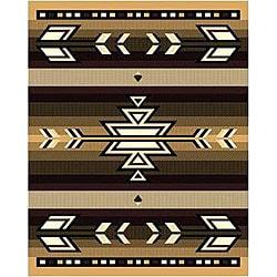 Berber Southwestern Beige Stripe Rug (4' x 6')
