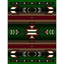 Green Southwestern Stripe Rug (4' x 6')