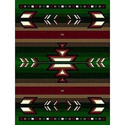 Green Southwestern Stripe Rug (5' x 8')